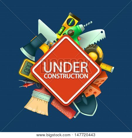 illustration of red under construction sign with a lot of differnt tools on blue background