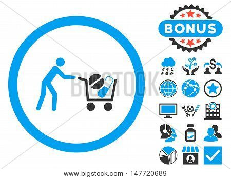 Drugs Shopping Cart icon with bonus pictures. Vector illustration style is flat iconic bicolor symbols, blue and gray colors, white background.