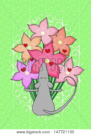 Card with mouse. Bouquet of flowers with hearts.