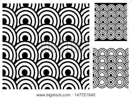 Seamless from circles. Black and white vector pattern.
