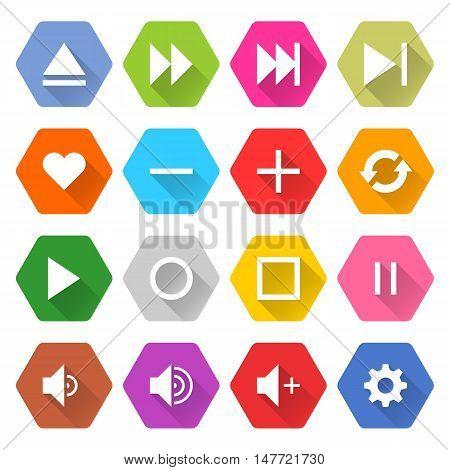Flat media icon 16 set rounded hexagon web button on white background. Simple minimalistic mono long shadow style. Vector illustration internet design graphic element 10 eps