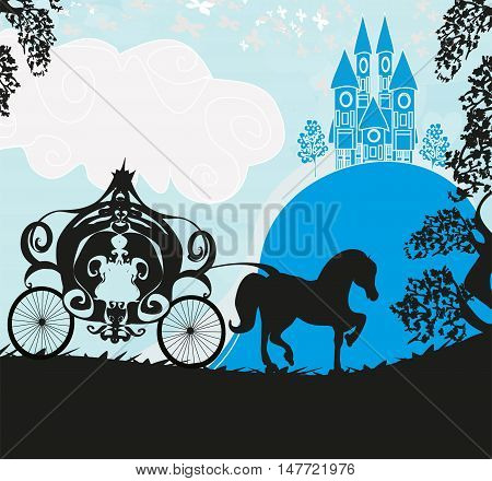 Silhouette of a horse carriage and a medieval castle , vector illustration