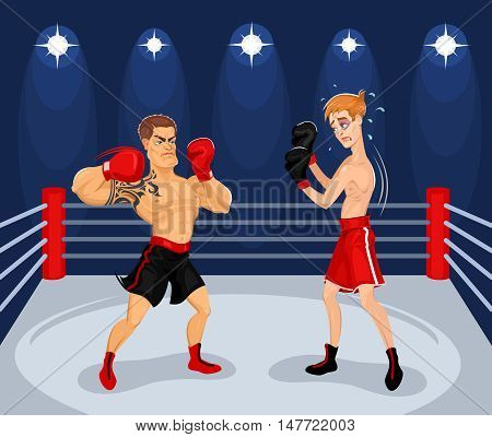 Vector illustration of boxers in the ring. Boxing Championship.