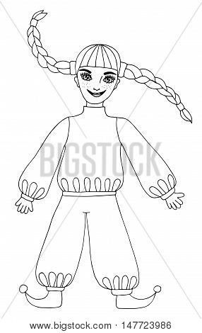 Fun girl with long hair. Mono color black line art element for adult coloring book page design.