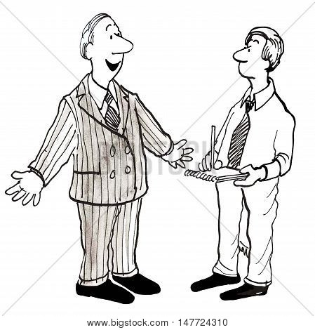 B&W illustration of man giving information to the reporter.