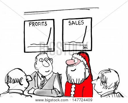 Christmas and business cartoon of a meeting, including Santa Claus, and the two charts show sales are booming in December.