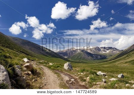 Road to Ukok Plateau in Altay Mountains, Russia