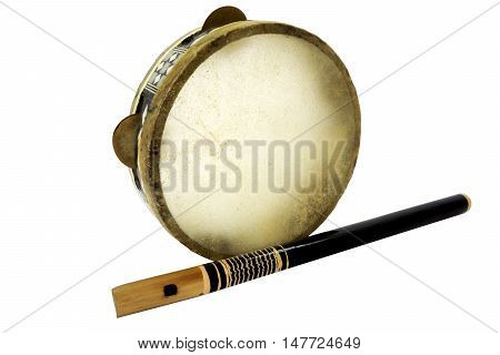 Traditional musical instument Djembe drum and flute isolated on white background