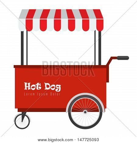 Fast food hot dog cart and street hot dog cart with awning. Hot dog cart street food market, hot dog cart stand vendor service. Kiosk seller fast food business.