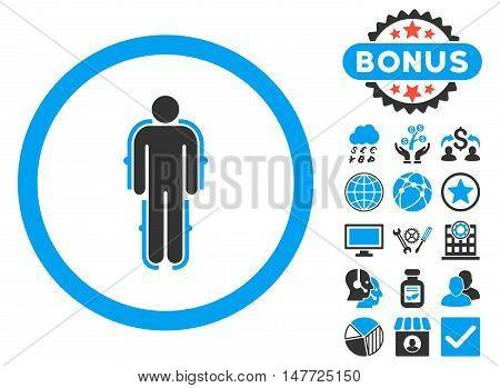 Exoskeleton icon with bonus images. Vector illustration style is flat iconic bicolor symbols blue and gray colors white background.