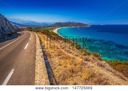 Beautiful View To Plage De Lozari Near Lile Rousse, Corsica, France, Europe.