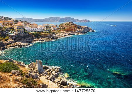 View To Beautiful Corsica Coastline And Historic Hauses In Calvi Old Town With Turquoise Clear Ocean