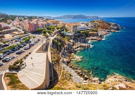 Calvi, Corsica - August 25, 2016 - View To Beautiful Corsica Coastline And Historic Hauses In Calvi