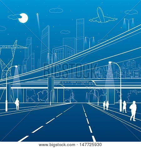 Car overpass, infrastructure, urban plot, people walking, airplane takes off, train move ob the bridge, modern city, white lines on blue background, vector design art