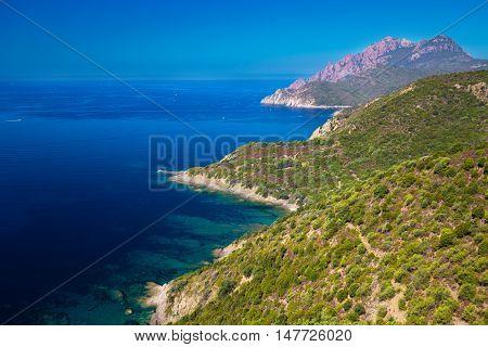 Golfe De Girolata From Bocca Di Palmarella, Corsica, France.