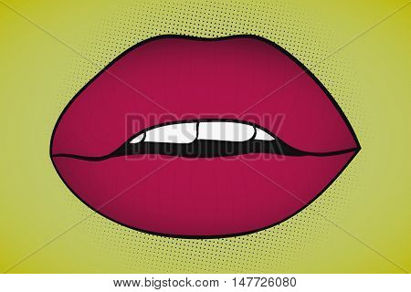 Pop art sexy seductive lips with visible teeth on yellow background with black various sizes black dots. Comic women red lips in retro style.