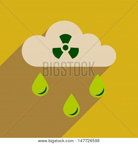 Flat web icon with long  shadow toxic rain