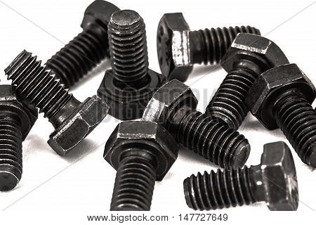 Hardened iron screws isolated on white background