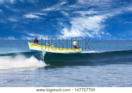 Indian Fishermen In Kerala, South India
