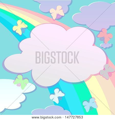 Background with butterfly and rainbow. Clouds with place for text.