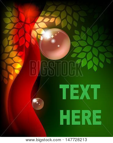 Abstract background with leaves and place for text.
