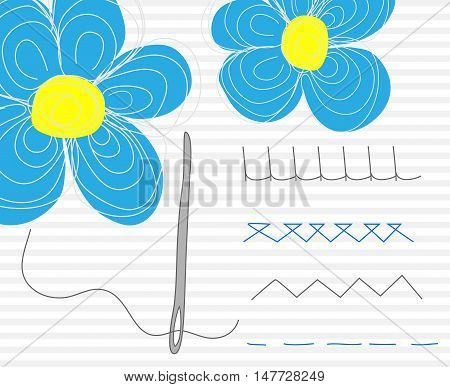 Needle with blue flowers. Vector striped background.