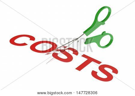 costs concept cutting costs. 3D rendering isolated on white background