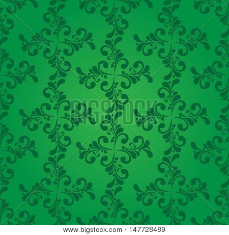 Green seamless with floral elements. Vector pattern.
