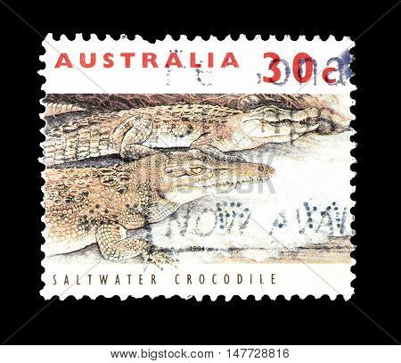 AUSTRALIA - CIRCA 1994 : Cancelled postage stamp printed by Australia, that shows Saltwater crocodile.