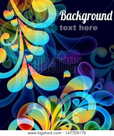 Vector abstract background with floral elements and place for text.