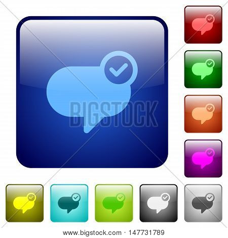 Set of message sent color glass rounded square buttons