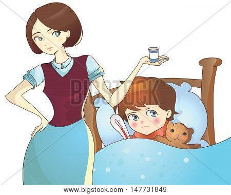 Sick child lying in bed and mother with medicine vector illustration on white background