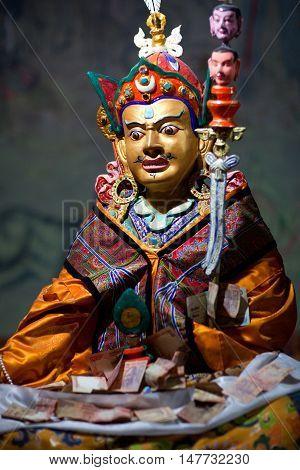 LEH, INDIA - JUNY 11, 2013: Beautiful Buddhists statue at Thiksey Gompa (Tibetan Buddhist Monastery) in Ladakh, Jammu and Kashmir, India