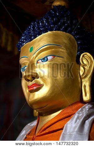 Statue Of Buddha At Hemis Gompa In Le, Ladakh, India