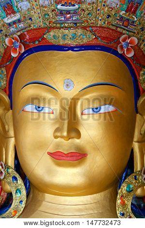 Maitreya Buddha (future Buddha) At Thiksey Monastery In Ladakh, India