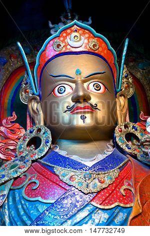 Statue Of Guru Padmasabhava At Hemis Gompa In Le, Ladakh, India