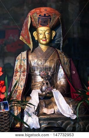 LEH, INDIA - JUNY 11, 2012: Beautiful Buddhists statue at Thiksey Gompa (Tibetan Buddhist Monastery) in Ladakh Jammu and Kashmir India. Thiksey monastery is located at an altitude of 3600 m. in the Indus Valley.