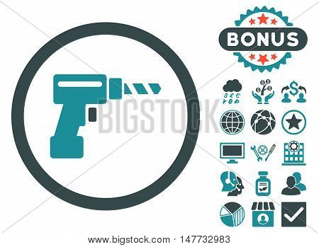 Drill icon with bonus elements. Vector illustration style is flat iconic bicolor symbols, soft blue colors, white background.