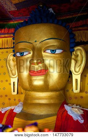 Statue Of Gautama Buddha At Shey Gompa In Leh, Ladakh, India