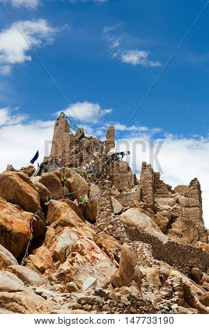 Ancient Shey Palace in Leh, Ladakh, Jammu and Kashmir state of India. Shey Palace complex located on a hillock in Shey 15 kilometres to the south of Leh.