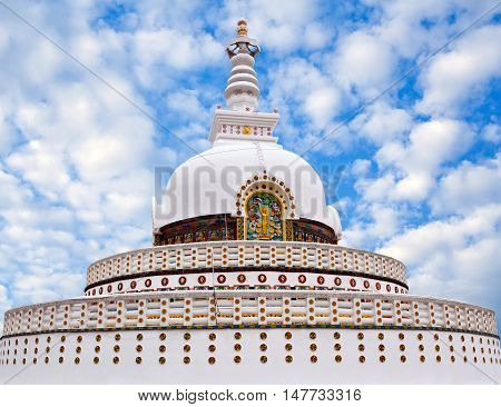 Shanti Stupa (Peace Pagoda) on a hilltop in Chanspa in Leh, Jammu and Kashmir state of India.