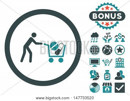 Drugs Shopping Cart icon with bonus symbols. Vector illustration style is flat iconic bicolor symbols, soft blue colors, white background.