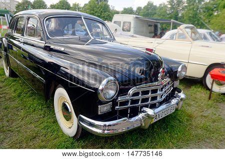 Kharkiv Ukraine - May 22 2016: Soviet retro car black GAZ-12 (ZIM) manufactured between 1949 and 1959 is presented at the festival of vintage cars Kharkiv Retro Rally - 2016 in Kharkiv Ukraine on May 22 2016
