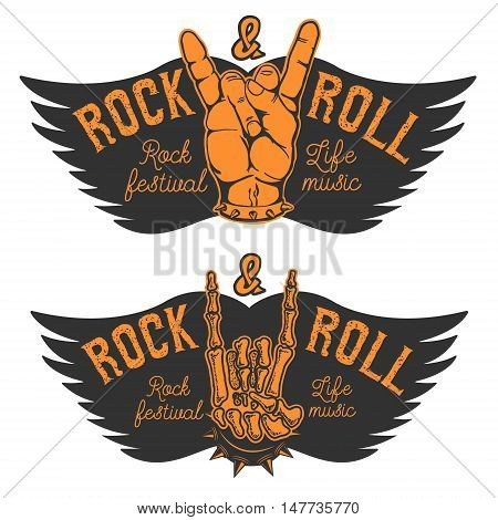 Set of the human hands with Rock and roll sign and wings. Rock and roll festival. Design elements for poster emblem. Vector illustration.