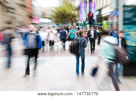Crowd Of People Crossing A Street With Zoom Effect