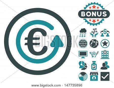 Euro Chargeback icon with bonus images. Vector illustration style is flat iconic bicolor symbols, soft blue colors, white background.