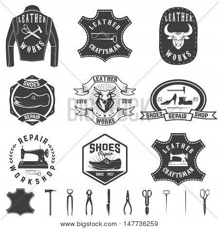 Set of repair workshop labels and design elements. Leather works shoe repair apparel workshop. Design element for logo label emblem sign brand mark. Vector illustration.