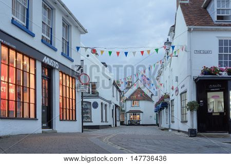 Lymington/UK. 13th September 2016. Approaching dusk on a late summer's evening in the seaside resort of Lymington on the UK's south coast. Tourism accounts for a large portion of the town's economy.
