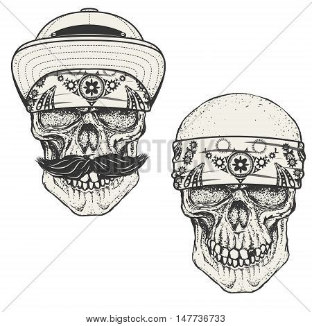 Set of the human skulls in bandana and cap. Gangster skull. Design elements for emblem poster t-shirt or apparel print. Vector illustration.