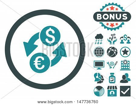 Euro Dollar Exchange icon with bonus pictures. Vector illustration style is flat iconic bicolor symbols, soft blue colors, white background.